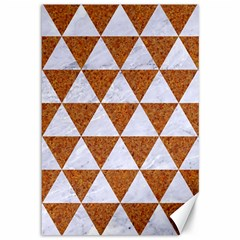 Triangle3 White Marble & Rusted Metal Canvas 12  X 18   by trendistuff