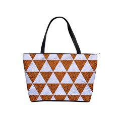 Triangle3 White Marble & Rusted Metal Shoulder Handbags by trendistuff