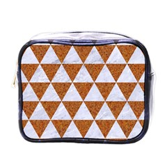 Triangle3 White Marble & Rusted Metal Mini Toiletries Bags by trendistuff