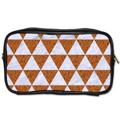 Triangle3 White Marble & Rusted Metal Toiletries Bags by trendistuff