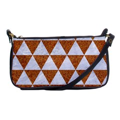Triangle3 White Marble & Rusted Metal Shoulder Clutch Bags by trendistuff