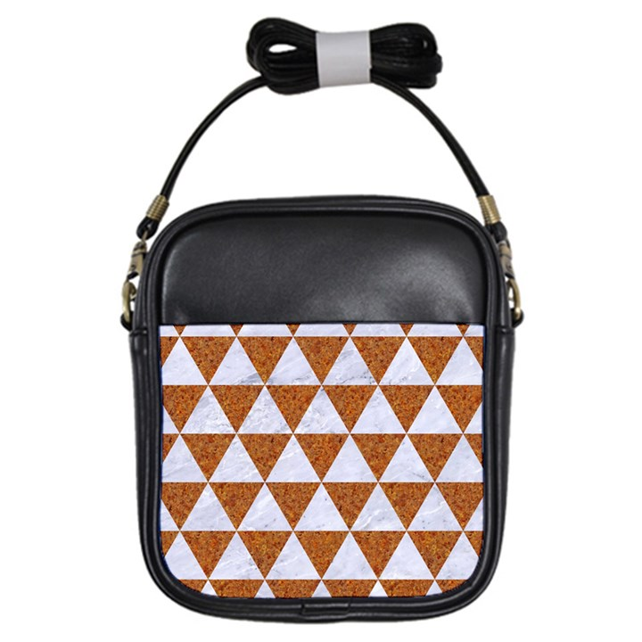 TRIANGLE3 WHITE MARBLE & RUSTED METAL Girls Sling Bags