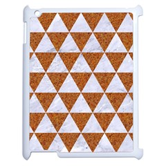 Triangle3 White Marble & Rusted Metal Apple Ipad 2 Case (white) by trendistuff