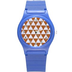 Triangle3 White Marble & Rusted Metal Round Plastic Sport Watch (s) by trendistuff