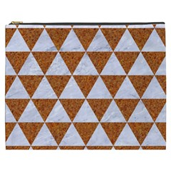 Triangle3 White Marble & Rusted Metal Cosmetic Bag (xxxl)  by trendistuff