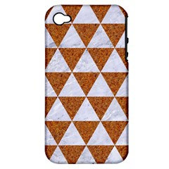 Triangle3 White Marble & Rusted Metal Apple Iphone 4/4s Hardshell Case (pc+silicone) by trendistuff