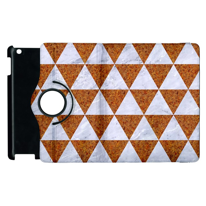 TRIANGLE3 WHITE MARBLE & RUSTED METAL Apple iPad 2 Flip 360 Case