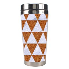 Triangle3 White Marble & Rusted Metal Stainless Steel Travel Tumblers by trendistuff