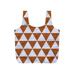 Triangle3 White Marble & Rusted Metal Full Print Recycle Bags (s)  by trendistuff