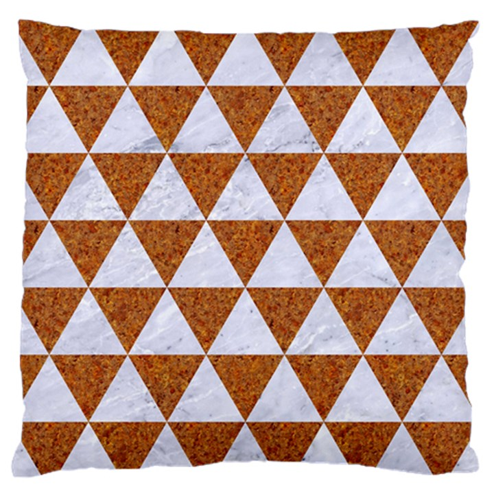 TRIANGLE3 WHITE MARBLE & RUSTED METAL Large Flano Cushion Case (Two Sides)