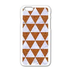 Triangle3 White Marble & Rusted Metal Apple Iphone 6/6s White Enamel Case by trendistuff