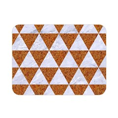 Triangle3 White Marble & Rusted Metal Double Sided Flano Blanket (mini)  by trendistuff