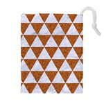 TRIANGLE3 WHITE MARBLE & RUSTED METAL Drawstring Pouches (Extra Large) Front