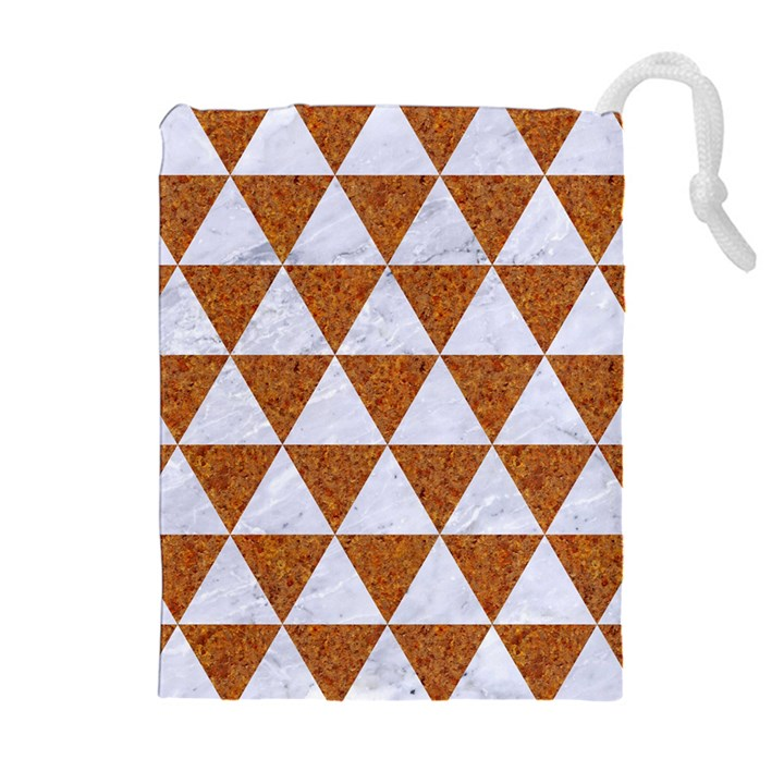 TRIANGLE3 WHITE MARBLE & RUSTED METAL Drawstring Pouches (Extra Large)