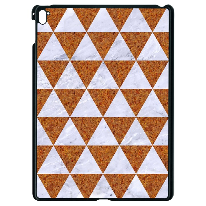 TRIANGLE3 WHITE MARBLE & RUSTED METAL Apple iPad Pro 9.7   Black Seamless Case