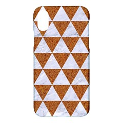 Triangle3 White Marble & Rusted Metal Apple Iphone X Hardshell Case by trendistuff
