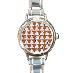 Triangle2 White Marble & Rusted Metal Round Italian Charm Watch by trendistuff