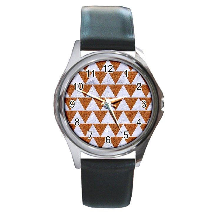 TRIANGLE2 WHITE MARBLE & RUSTED METAL Round Metal Watch