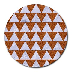 Triangle2 White Marble & Rusted Metal Round Mousepads