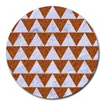 TRIANGLE2 WHITE MARBLE & RUSTED METAL Round Mousepads Front