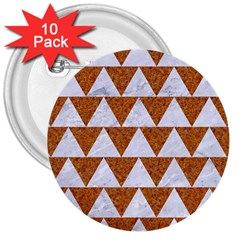 Triangle2 White Marble & Rusted Metal 3  Buttons (10 Pack)  by trendistuff