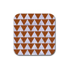 Triangle2 White Marble & Rusted Metal Rubber Coaster (square)  by trendistuff
