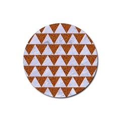 Triangle2 White Marble & Rusted Metal Rubber Round Coaster (4 Pack)  by trendistuff