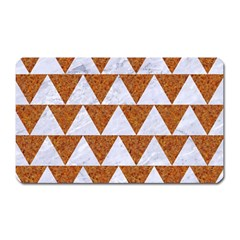 Triangle2 White Marble & Rusted Metal Magnet (rectangular) by trendistuff