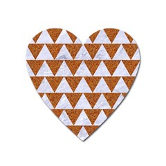 Triangle2 White Marble & Rusted Metal Heart Magnet by trendistuff