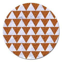 Triangle2 White Marble & Rusted Metal Magnet 5  (round) by trendistuff