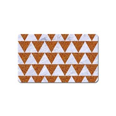 Triangle2 White Marble & Rusted Metal Magnet (name Card) by trendistuff