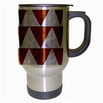 TRIANGLE2 WHITE MARBLE & RUSTED METAL Travel Mug (Silver Gray) Right