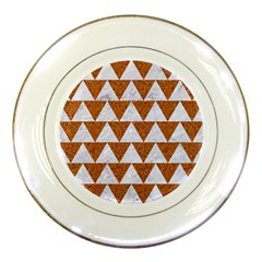 Triangle2 White Marble & Rusted Metal Porcelain Plates by trendistuff