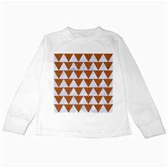 Triangle2 White Marble & Rusted Metal Kids Long Sleeve T Shirts by trendistuff