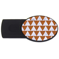 Triangle2 White Marble & Rusted Metal Usb Flash Drive Oval (4 Gb) by trendistuff