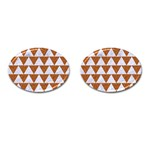 TRIANGLE2 WHITE MARBLE & RUSTED METAL Cufflinks (Oval) Front