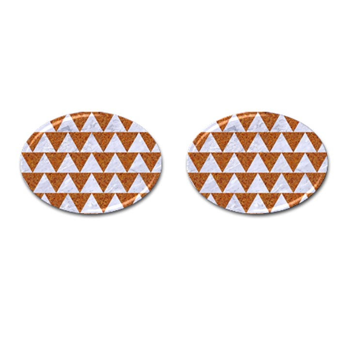 TRIANGLE2 WHITE MARBLE & RUSTED METAL Cufflinks (Oval)