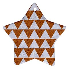 Triangle2 White Marble & Rusted Metal Star Ornament (two Sides)