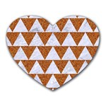 TRIANGLE2 WHITE MARBLE & RUSTED METAL Heart Mousepads Front