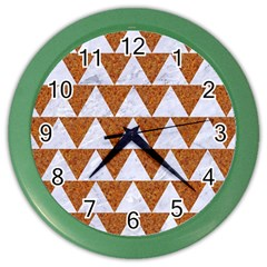 Triangle2 White Marble & Rusted Metal Color Wall Clocks by trendistuff