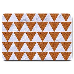 Triangle2 White Marble & Rusted Metal Large Doormat  by trendistuff