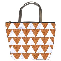 Triangle2 White Marble & Rusted Metal Bucket Bags