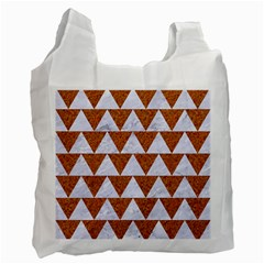 Triangle2 White Marble & Rusted Metal Recycle Bag (two Side)  by trendistuff