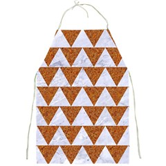 Triangle2 White Marble & Rusted Metal Full Print Aprons by trendistuff