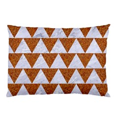 Triangle2 White Marble & Rusted Metal Pillow Case (two Sides) by trendistuff