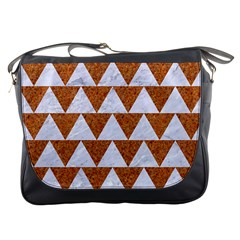 Triangle2 White Marble & Rusted Metal Messenger Bags by trendistuff