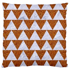 Triangle2 White Marble & Rusted Metal Large Cushion Case (one Side) by trendistuff
