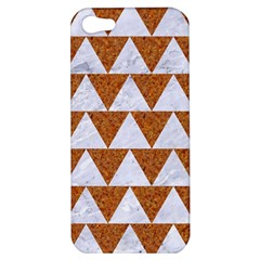 Triangle2 White Marble & Rusted Metal Apple Iphone 5 Hardshell Case