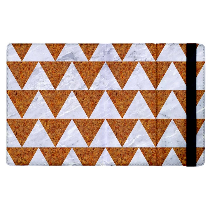 TRIANGLE2 WHITE MARBLE & RUSTED METAL Apple iPad 3/4 Flip Case