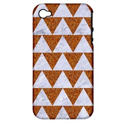 Triangle2 White Marble & Rusted Metal Apple Iphone 4/4s Hardshell Case (pc+silicone) by trendistuff